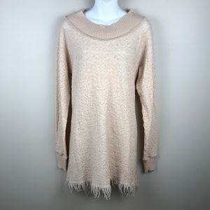 Free People Tunic Sweater with Fringe Bottom - Med
